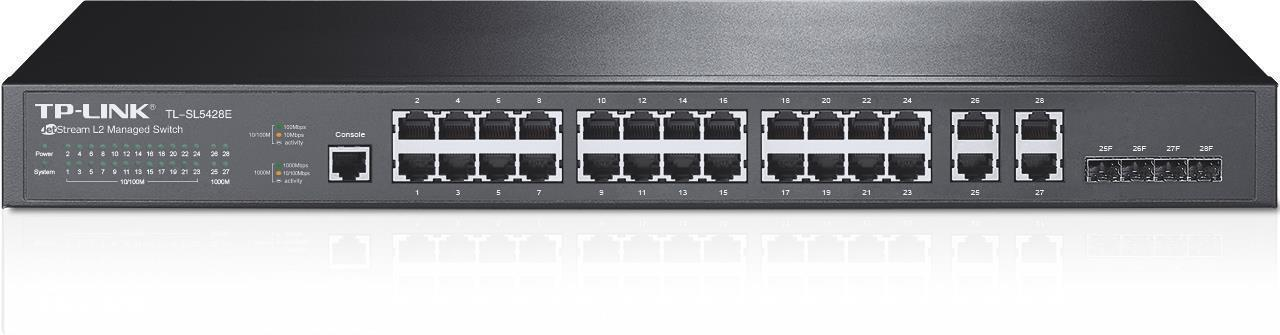 TP-Link TL-SL5428E JetStream 24-Port 10/100Mbps + 4-Port Gigabit L2 Managed Switch